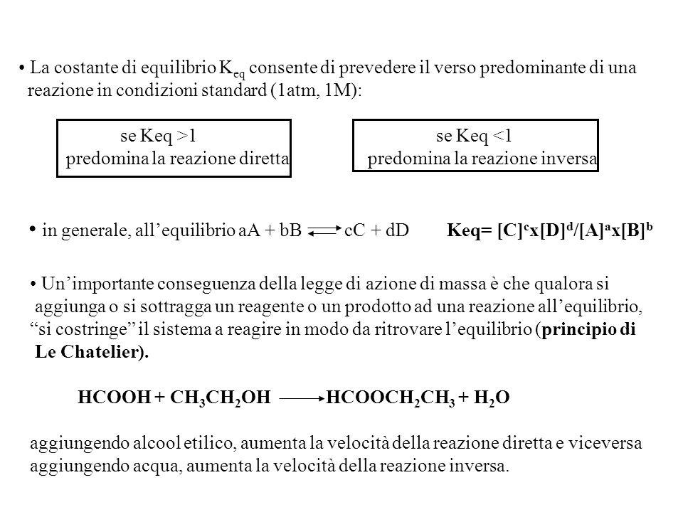 in generale, all'equilibrio aA + bB cC + dD Keq= [C]cx[D]d/[A]ax[B]b